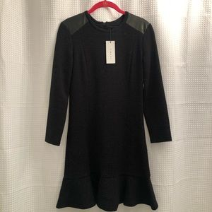 Brand new with tags Sandro leather trim dress!